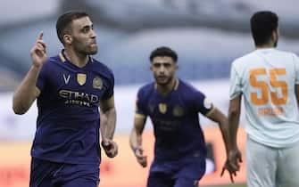 epa08634636 Al-Nassr's player Abderazak Hamdallah (L) celebrates after scoring a goal during the Saudi Professional League soccer match between Al-Nassr and Al-Feiha, in Riyadh, Saudi Arabia, 29 August 2020.  EPA/STR