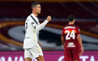 Cristiano Ronaldo of Juventus celebrates after scoring 2-2 goal during the italian Serie A soccer match between AS Roma and FC Juventus at Olimpico Stadium in Rome, Italy, 26 Semptember 2020. ANSA/FEDERICO PROIETTI