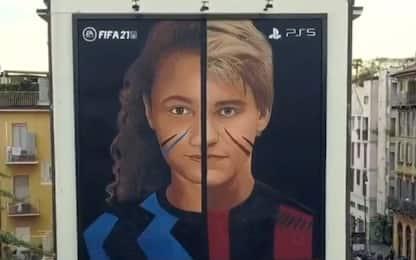 """Jorit """"disegna"""" il derby di Milano"""