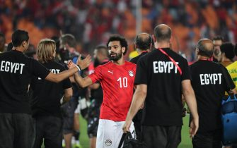epa07665257 Mohamed Salah of Egypt celebrates after the opening match of the 2019 Africa Cup of Nations (AFCON) between Egypt and Zimbabwe at Cairo International Stadium in Cairo, Egypt, 21 June 2019. The 2019 Africa Cup of Nations (AFCON) takes place from 21 June until 19 July 2019 in Egypt.  EPA/GAVIN BARKER This image is intended for Editorial use (e.g. news articles). Any commercial use (e.g. ad campaigns) requires additional clearance. Contact: photo@backpagemedia.co.za for more information
