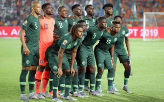 epa07717632 Nigeria players before the 2019 Africa Cup of Nations (AFCON)  Semi  final soccer match between Algeria and Nigeria in Cairo Stadium in Cairo, Egypt, 14 July 2019.  EPA/KHALED ELFIQI