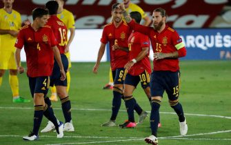 epa08651454 Spain's defender Sergio Ramos (C) celebrates after scoring the 2-0 goal during the UEFA Nations League soccer match between Spain and Ukraine held at Alfredo Di Stefano stadium, in Madrid, Spain, 06 September 2020.  EPA/Emilio Naranjo