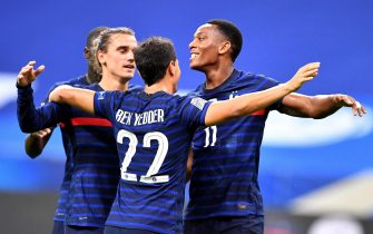 epa08655374 France's Antoine Griezmann (L), Wissam Ben Yedder (C) and Anthony Martial (R) celebrate  during the UEFA Nations League soccer match between France and Croatia at the Stade de France, Saint Denis, France, 08 September 2020.  EPA/PASCAL BONNIERE FRANCE OUT / SHUTTERSTOCK OUT