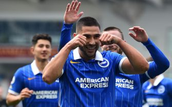 epa08698762 Neal Maupay of Brighton celebrates after scoring the opening goal with a penalty during the English Premier League match between Brighton and Manchester United in Brighton, Britain, 26 September 2020.  EPA/Glyn Kirk / POOL EDITORIAL USE ONLY. No use with unauthorized audio, video, data, fixture lists, club/league logos or 'live' services. Online in-match use limited to 120 images, no video emulation. No use in betting, games or single club/league/player publications.