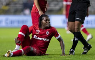Antwerp's Dieumerci Mbokani Bezua pictured during a soccer match between Royal Antwerp FC and KV Mechelen, Friday 02 October 2020 in Deurne, Antwerp, on day 8 of the 'Jupiler Pro League' first division of the Belgian championship. BELGA PHOTO KRISTOF VAN ACCOM (Photo by KRISTOF VAN ACCOM/BELGA MAG/AFP via Getty Images)