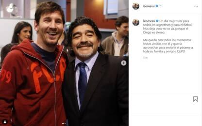 """Messi: """"Diego ci lascia ma non se ne va, è eterno"""""""