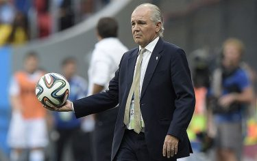 Argentina's coach Alejandro Sabella holds the ball during a quarter-final football match between Argentina and Belgium at the Mane Garrincha National Stadium in Brasilia during the 2014 FIFA World Cup on July 5, 2014. AFP PHOTO / JUAN MABROMATA        (Photo credit should read JUAN MABROMATA/AFP via Getty Images)