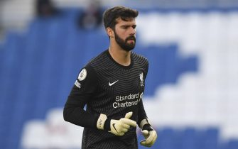 epa08848498 Alisson Becker of Liverpool FC during the English Premier League soccer match between Brighton Hove Albion and Liverpool FC in Brighton, Britain, 28 November 2020.  EPA/Neil Hall / POOL EDITORIAL USE ONLY. No use with unauthorized audio, video, data, fixture lists, club/league logos or 'live' services. Online in-match use limited to 120 images, no video emulation. No use in betting, games or single club/league/player publications.