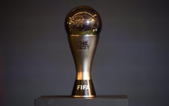 epa06219731 A general view of 'The Best FIFA Award' trophy during the announcement of The Best FIFA Football Awards Finalists in Central London, Britain, 22 September 2017. The Best FIFA Football Awards ceremony will take place in London on 23 October.  EPA/WILL OLIVER