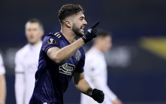 ZAGREB, CROATIA - DECEMBER 10: Josko Gvardiol of Dinamo Zagreb celebrates after scoring the first goal during the UEFA Europa League Group K stage match between Dinamo Zagreb and CSKA Moscow at Maksimir Stadium on December 10, 2020 in Zagreb, Croatia. (Photo by Marko Prpic/Pixsell/MB Media/Getty Images)