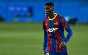 BARCELONA, SPAIN - DECEMBER 13: Ilaix Moriba of FC Barcelona B looks on during the Segunda Division B match between FC Barcelona B and RCD Espanyol B at Estadi Johan Cruyff on December 13, 2020 in Barcelona, Spain. (Photo by Pedro Salado/Quality Sport Images/Getty Images)