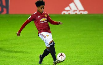 LEIGH, ENGLAND - SEPTEMBER 25: Shola Shoretire of Manchester United U23s in action during the Premier League 2 match between Manchester United U23s and Liverpool U23s at Leigh Sports Village on September 25, 2020 in Leigh, England. (Photo by Manchester United/Manchester United via Getty Images)