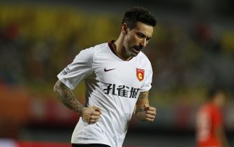 BEIJING, CHINA - AUGUST 14: Ezequiel Lavezzi #22 of Hebei China Fortune celebrates after scoring his team's goal during 2019 China Super League between Beijing Renhe and Shangdong Luneng at Beijing Fengtai Stadium on August 13, 2019 in Beijing, China. (Photo by Fred Lee/Getty Images)