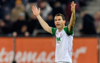 AUGSBURG, GERMANY - DECEMBER 17: (BILD ZEITUNG OUT) Stephan Lichtsteiner of FC Augsburg gestures during the Bundesliga match between FC Augsburg and Fortuna Duesseldorf at WWK-Arena on December 17, 2019 in Augsburg, Germany. (Photo by TF-Images/Getty Images)