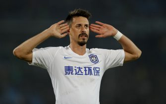 BEIJING, CHINA - OCTOBER 26: Sandro Wagner #9 of Tianjin Teda celebrates after scoring his team's goal during  2019 China Super League - Beijing Guoan v Tianjin Teda at Beijing Workers Stadium on October 26, 2019 in Beijing, China. (Photo by Fred Lee/Getty Images)