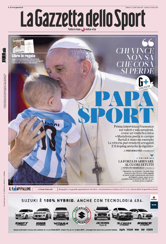 La prima pagina della Gazzetta dello Sport del 2 gennaio 2021
