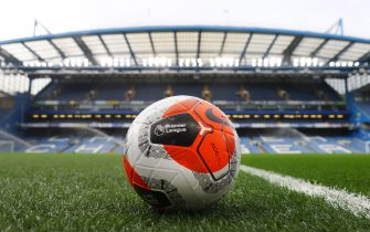 LONDON, ENGLAND - FEBRUARY 22: A detailed view of the match ball prior to the Premier League match between Chelsea FC and Tottenham Hotspur at Stamford Bridge on February 22, 2020 in London, United Kingdom. (Photo by Julian Finney/Getty Images)