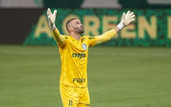 Weverton (# 21 Palmeiras) celebrates goal during Palmeiras' second goal during the game between Palmeiras and Bahia, valid for the 25th round of the Brazilian Championship 2020, held at the Allianz Parque Stadium in Sao Paulo, SP, Brazil on December 12, 2020.  (Photo: Richard Callis/Fotoarena/Sipa USA)
