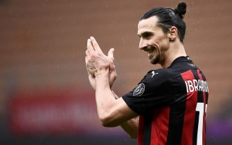 MILAN, ITALY - February 07, 2021: Zlatan Ibrahimovic of AC Milan gestures during the Serie A football match between AC Milan and FC Crotone. (Photo by Nicolò Campo/Sipa USA)