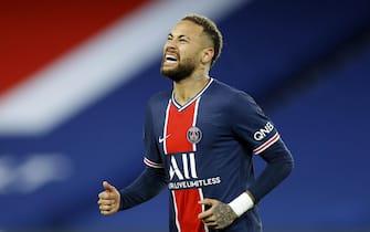 epa08958965 Paris Saint Germain's Neymar Jr. reacts during the French Ligue 1 soccer match between Paris Saint Germain and Montpellier HSC, in Paris, France, 22 January 2021.  EPA/IAN LANGSDON