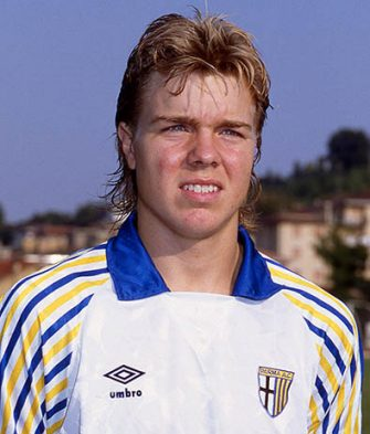 Thomas Brolin of Parma Calcio poses for photo during the Serie A 1990-91 Italy. (Photo by Alessandro Sabattini/Getty Images)