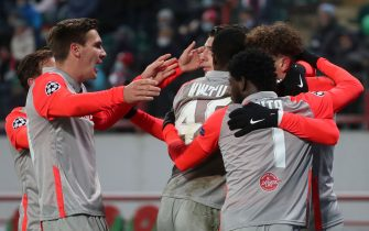 MOSCOW, RUSSIA - DECEMBER 1, 2020: FC Red Bull Salzburg's players celebrate scoring in 2020-21 UEFA Champions League Group A Round 5 football match against FC Lokomotiv Moscow at RZD Arena. Sergei Fadeichev/TASS/Sipa USA