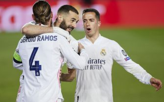 Sergio Ramos of Real Madrid and Karim Benzema of Real Madrid celebrating the 2-0 during the Champions League match, round of 16, between Real Madrid and Atalanta played at Alfredo Di Stefano Stadium on March 16, 2020 in Madrid, Spain. (Photo by Ruben Albarran / PRESSINPHOTO)