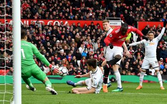 """Manchester United's Romelu Lukaku attempts a shot on goal during the Premier League match at Old Trafford, Manchester. PRESS ASSOCIATION Photo. Picture date: Saturday March 31, 2018. See PA story SOCCER Man Utd. Photo credit should read: Anthony Devlin/PA Wire. RESTRICTIONS: EDITORIAL USE ONLY No use with unauthorised audio, video, data, fixture lists, club/league logos or """"live"""" services. Online in-match use limited to 75 images, no video emulation. No use in betting, games or single club/league/player publications"""