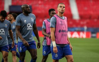 Porto warm up during the UEFA Champions League Quarter Final First Leg game between FC Porto and Chelsea FC at Ramon Sanchez Pizjuan Stadium in Seville, Spain on April 7, 2021  (Photo by Isabel Silva / SPP/Sipa USA)