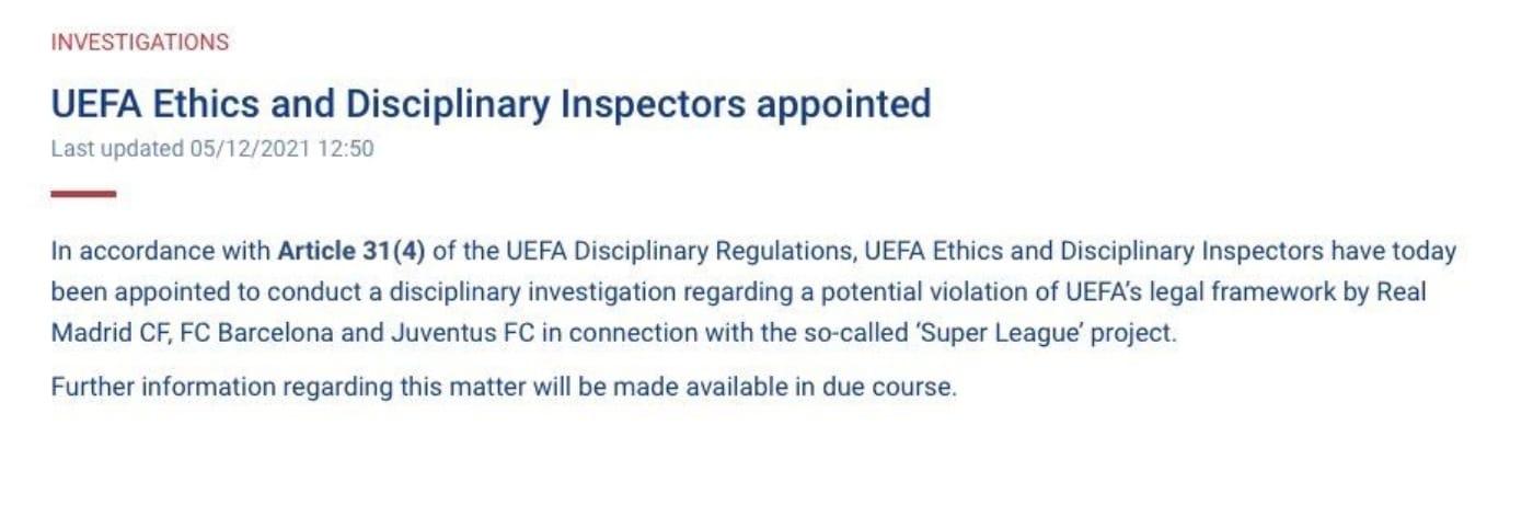 Comunicato Uefa