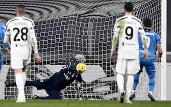 TURIN, ITALY - March 02, 2021: Wojciech Szczesny of Juventus FC saves a penalty kick by Andrej Galabinov of Spezia Calcio during the Serie A football match between Juventus FC and Spezia Calcio. (Photo by Nicolò Campo/Sipa USA)