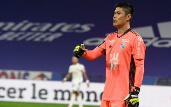 goalkeeper KAWASHIMA Eiji Strasbourg during the French L1 football match between Olympique Lyonnais and Racing Club Strasbourg Alsace at the Groupama Stadium in Decines-Charpieu, near Lyon, central-eastern France on February 6, 2021.//ALLILIMOURAD_allili2218/2102071117/Credit:ALLILI MOURAD/SIPA/2102071133