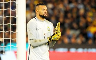 epa06019044 Brazil's goalkeeper Weverton reacts during the international friendly soccer match between Brazil and Argentina at the MCG in Melbourne, Australia, 09 June 2017. Argentina won 1-0.  EPA/JOE CASTRO AUSTRALIA AND NEW ZEALAND OUT