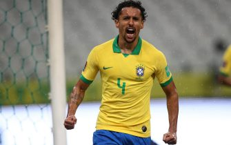 epa08733315 The player Marquinhos of Brazil celebrates a goal during a South American qualifying match for the Qatar 2022 World Cup, at the Arena de Sao Paulo stadium in Sao Paulo, Brazil, 09 October 2020.  EPA/Buda Mendes / POOL