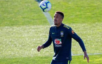 epa07451454 Brazilian national soccer team player Eder Militao attends a training session in Vila Nova de Gaia, Portugal, 20 March 2019. Brazil prepares for its upcoming international friendly matches against Panama on 23 March and the Czech Republic on 26 March 2019.  EPA/JOSE COELHO