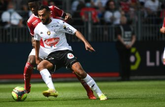 Brest's French midfielder Lucien Agoume (L) fights for the ball with Angers's midfielder Sofiane Boufal during the French L1 football match between Stade Brestois 29 (Brest) and Angers SCO at Stade Francis-Le Ble in Brest, western France on September 12, 2021. (Photo by Fred TANNEAU / AFP) (Photo by FRED TANNEAU/AFP via Getty Images)