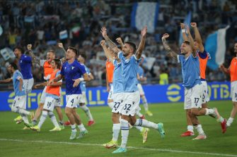 ROME, Italy - 26.09.2021: Lazio team celebrates the victory at end of the Italian Serie A football match between SS LAZIO VS AS ROMA at Olympic stadium in Rome on september 26th, 2021.