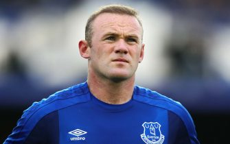LIVERPOOL, ENGLAND - JULY 27: Wayne Rooney of Everton looks on during the UEFA Europa League Third Qualifying Round First Leg match between Everton and MFK Ruzomberok at Goodison Park on July 27, 2017 in Liverpool, England. (Photo by Chris Brunskill Ltd/Getty Images)