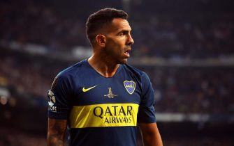 MADRID, SPAIN - DECEMBER 09:  Carlos Tevez of Boca Juniors reacts during the second leg of the final match of Copa CONMEBOL Libertadores 2018 between Boca Juniors and River Plate at Estadio Santiago Bernabeu on December 9, 2018 in Madrid, Spain. Due to the violent episodes of November 24th at River Plate stadium, CONMEBOL rescheduled the game and moved it out of Americas for the first time in history. (Photo by Matthew Ashton - AMA/Getty Images)
