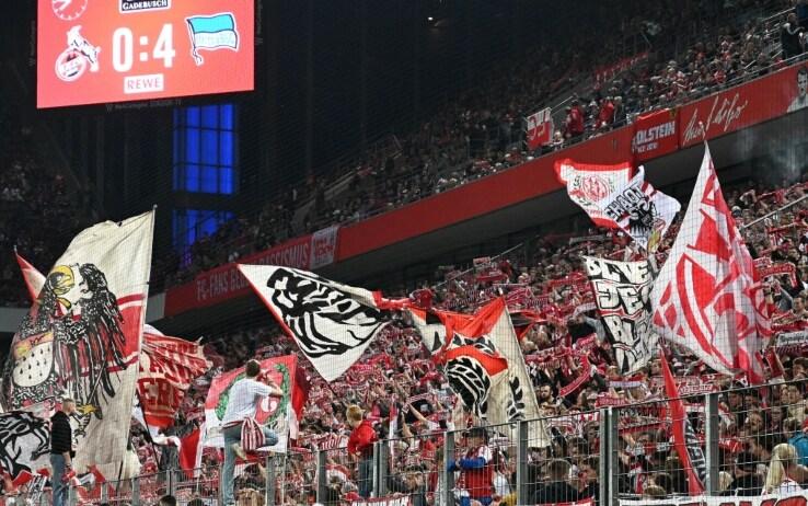 I tifosi del Colonia incitano la squadra che sta perdendo 4 a 0