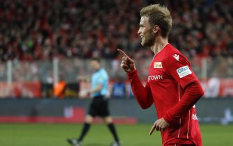 epa08055022 Unionâs Sebastian Andersson celebrates after scoring the 1-0 lead during the German Bundesliga soccer match between Union Berlin and 1. FC Koeln in Berlin, Germany, 08 December 2019.  EPA/FELIPE TRUEBA CONDITIONS - ATTENTION: The DFB regulations prohibit any use of photographs as image sequences and/or quasi-video.
