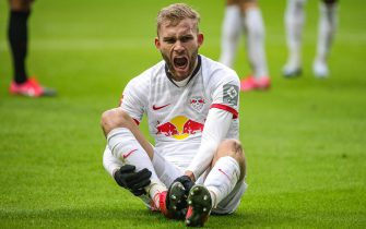 epa08163647 Leipzig's Konrad Laimer reacts during the German Bundesliga soccer match between Eintracht Frankfurt and RB Leipzig in Frankfurt Main, Germany, 25 January 2020.  EPA/ARMANDO BABANI CONDITIONS - ATTENTION: The DFL regulations prohibit any use of photographs as image sequences and/or quasi-video