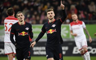 Leipzig's German forward Timo Werner celebrates with Leipzig's Austrian midfielder Marcel Sabitzer (L) scoring a penalty during the German first division Bundesliga football match Fortuna Dusseldorf v RB Leipzig in Duesseldorf on December 14, 2019. (Photo by INA FASSBENDER / AFP) / DFL REGULATIONS PROHIBIT ANY USE OF PHOTOGRAPHS AS IMAGE SEQUENCES AND/OR QUASI-VIDEO (Photo by INA FASSBENDER/AFP via Getty Images)