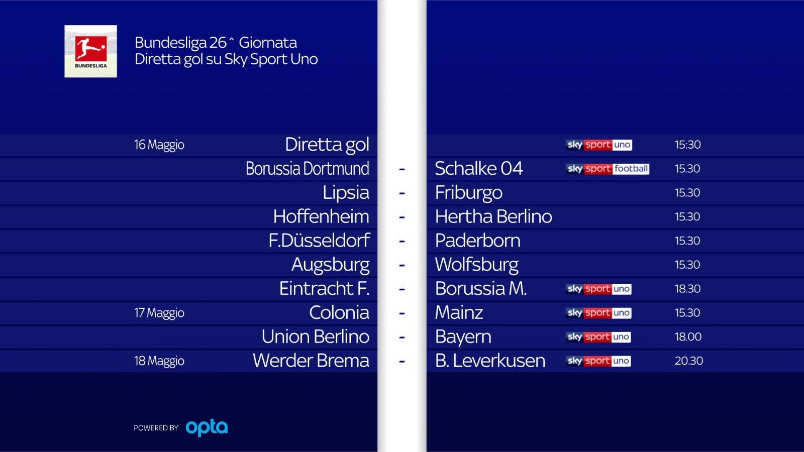 Programma 26^ giornata Bundesliga
