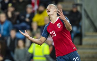 OSLO, NORWAY - SEPTEMBER 05: Erling Braut Haaland  of Norway  during the UEFA Euro 2020 qualifier between Norway and Malta at Ullevaal Stadion on September 5, 2019 in Oslo, Norway. (Photo by Trond Tandberg/Getty Images)