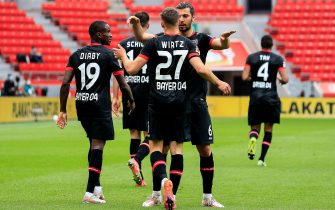 (210516) -- LEVERKUSEN, May 16, 2021 (Xinhua) -- Florian Wirtz (3rd L) of Leverkusen celebrates his scoring with teammates during a German Bundesliga match between Bayer 04 Leverkusen and FC Union Berlin in Leverkusen, Germany, May 15, 2021. (Xinhua) - Xinhua -//CHINENOUVELLE_1.0139/2105161214/Credit:CHINE NOUVELLE/SIPA/2105161215