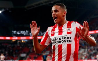 EINDHOVEN, NETHERLANDS - AUGUST 22: Mohammed Ihattaren of PSV celebrates 1-0 during the UEFA Europa League   match between PSV v Apollon Limassol at the Philips Stadium on August 22, 2019 in Eindhoven Netherlands (Photo by Photo Prestige/Soccrates/Getty Images)