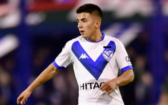 BUENOS AIRES, ARGENTINA - MAY 12: Thiago Almada of Velez Sarsfield in action during a first leg quarter final match between Velez and Boca Juniors as part of Copa de la Superliga 2019  at Jose Amalfitani Stadium on May 12, 2019 in Buenos Aires, Argentina. (Photo by Gustavo Garello/Jam Media/Getty Images)