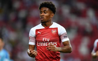 SINGAPORE - JULY 26: Reiss Nelson #48 of Arsenal looks on during the International Champions Cup 2018 match between Club Atletico de Madrid and Arsenal at the National Stadium on July 26, 2018 in Singapore.  (Photo by Thananuwat Srirasant/Getty Images for ICC)