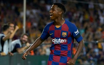 BARCELONA, SPAIN - SEPTEMBER 14: Ansu Fati of Barcelona celebrates after the second goal of his team scored by Frenkie de Jong (not in frame) during the Liga match between FC Barcelona and Valencia CF at Camp Nou on September 14, 2019 in Barcelona, Spain. (Photo by Quality Sport Images/Getty Images)